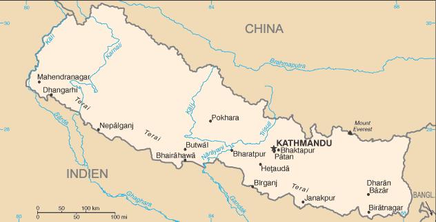 La mappa del Nepal