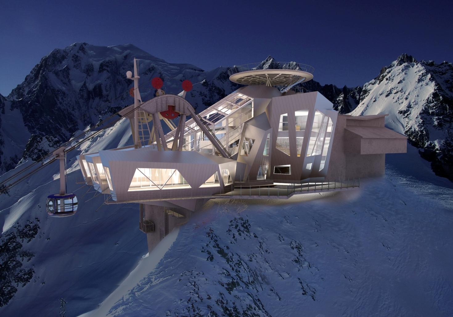 L'arrivo della funivia Skyway Monte Bianco
