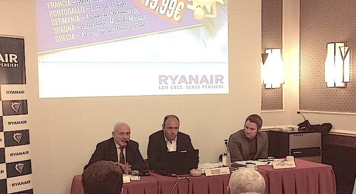 Da sinistra, John Alborante, Kenny Jacobs e Robin Kiely di Ryanair