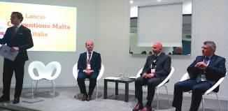 La presentazione di Conventions Malta. Da sinistra, Claude Zammit Trevisan,direttore Italia di MTA; Edward Zammit, Events Operations, Advisor, Conventions Malta; Paul Bugeja, CEO MTA