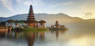 Pura Ulun Danu hindu temple on lake Beratan, Bali, Indonesia